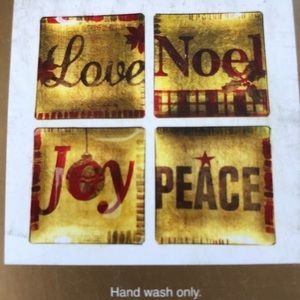 Pier One set of 4 Holiday painted glass coasters